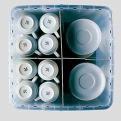 Transportbox Einteilung für Tassen und Teller