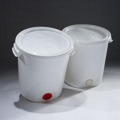 Hobbock Kunststoff mit Flachstelle lebensmittelecht und UN 30 l