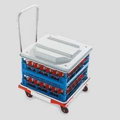 Transportwagen mit herausnehmbarer Abtropfwanne ROLB 500x500 mm mit Lenkrollen und Schubbügel