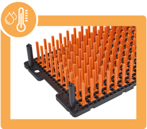 techtray with orange pins